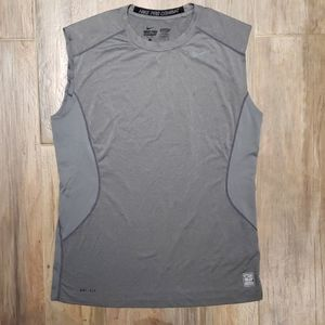 Gray Nike Pro Combat Dri-Fit Tank Top